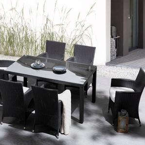 Gartentisch Rattan dunkelbraun 160 x 90 cm ITALY