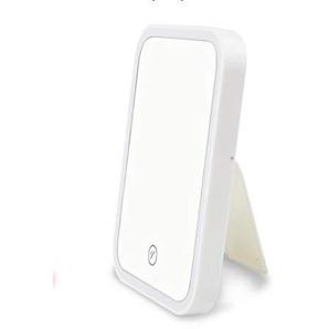 Darcyk Kosmetikspiegel Desktop LED Quadrat Portable Folding Badezimmerspiegel Prinzessin Spiegel-Weiß_Batterie