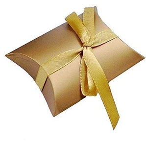 JZK® 50 x Goldkissen, GeschenkboxSüßigkeiten Karton Schmuck Schachtel Gastgeschenke Kartonagen Bonboniere Favour Box für Hochzeit Geburtstag Party Festival (Gold Kissen)