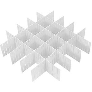 Wefond 8pcs DIY Plastikfach Organisator justierbare Fach Teiler für Haus Tidy Closet, Socken, Unterwäsche, Büroschulbedarf, Küchegerätwerkzeuge (Weiß)