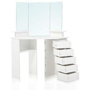 Makika Schminktisch Schminkkommode Eckschminktisch weiß Kosmetiktisch Frisierkommode Frisiertisch Make-Up Tisch mit 5 drehbaren Schubladen aus Holz - TYRA