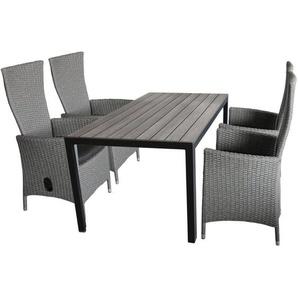5tlg. Gartengarnitur Gartentisch, Polywood Tischplatte, 150x90cm + 4x Gartensessel grau-meliert, stufenlos verstellbar, inkl Sitzkissen - WOHAGA®
