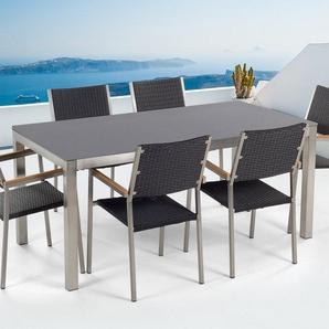 Gartenmöbel Set grau Keramik 180 x 90 cm mit 6 Stühlen Rattan schwarz GROSSETO