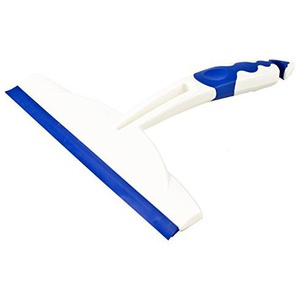 Duschabzieher mit doppelter Silikon-Wischlippe 20 cm | Zwei-Komponenten-Griff weiß/blau zum Aufhängen | Duschkabinenabzieher MADE IN GERMANY