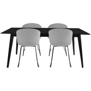Essgruppe | Esstisch Weiß mit 4 Stühlen Hellgrau- Nora & Eli