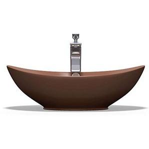 Aufsatzwaschbecken Oval aus Keramik 59x38cm matt Kaffee Waschschale Waschtisch mit Nano-Beschichtung Br818 Mai & Mai