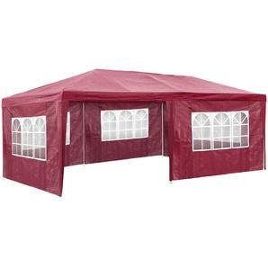 Garten Pavillon 6x3m mit 5 Seitenteilen rot