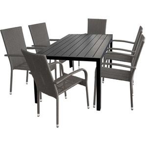 7tlg. Gartengarnitur Gartentisch Tischplatte Polywood 150x90cm + 6x stapelbare Rattansessel - MULTISTORE 2002