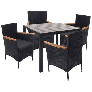 Poly-Rattan Garnitur HHG-601, Sitzgruppe Gartengarnitur, Akazie Holz ~ braun