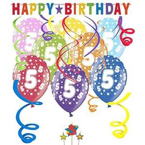 Libetui Geburtstag Dekoration Deko-Set Stern Kindergeburtstag Happy Birthday Bunte Partykette farbenfrohe Girlande Spirale Luftballons und Geburtstags-Kerzen (5. Geburtstag)