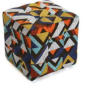 Versa 19501334 Hocker, Polyester, Schwarz, Orange, Gelb, Blau, 35 x 35 x 35 cm