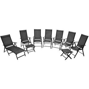 Klappbare Gartenstühle 9 Stk. Aluminium Schwarz - VIDAXL