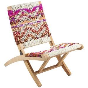 Bunter Stuhl aus Geflecht und Massivholz klappbar