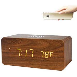 GANGHENGYU Holz Wecker Handy Wireless Ladestation Elektronische LED Digital Home Desktop Reise Uhren (Braun Holz Weißes Licht)