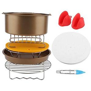 Zubehör für Airfryer Heißluftfritteuse, 9Pcs/set Air Fryer Accessories Kit 8 Inch Enthält Kuchenfass/Pizzateller/Silikonmatte/Grill usw(Gold)