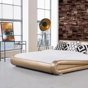 Wasserbett Leder gold 180 x 200 cm AVIGNON