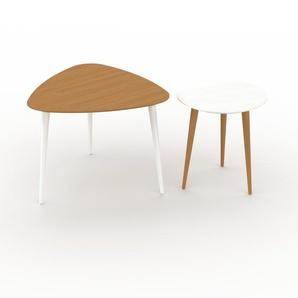 Couchtisch Weiß - Eleganter Sofatisch: Beste Qualität, einzigartiges Design - 59/40 x 47/44 x 61/40 cm, Konfigurator