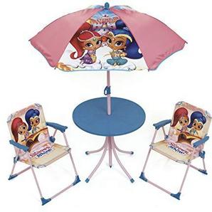 Arditex Shimmer & Shine Set Garten/Tisch rund/Sonnenschirm und 2Stühle, Stoff, rosa, 72.5x 10,5x 50cm