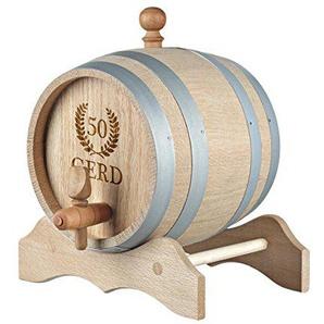 polar-effekt 5 Liter Holzfass Personalisiert mit Namens-Gravur - Originelles Geschenk - Eichen-Fass für Whisky oder Wein - Geburtstagsgeschenk - Motiv Jubiläumskranz
