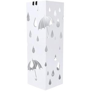 Schirmständer Regenschirmständer aus Metall 15,5 x 15,5 x 49cm Weiß LUC49W - SONGMICS