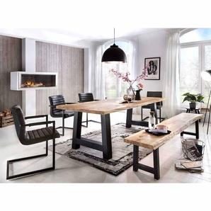 Esszimmergruppe mit Baumkante Loft Style (6-teilig)