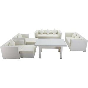 OUTFLEXX Loungemöbel-Set, weiß, Polyrattan, für 9 Personen, inkl. Esstisch, wasserfeste Kissenbox
