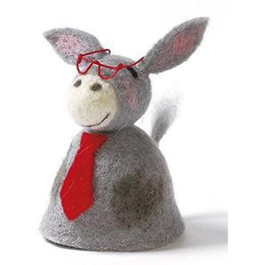 Dekorativer Niedlicher Eierwärmer Esel mit Brille und Schlips aus Filz (2)