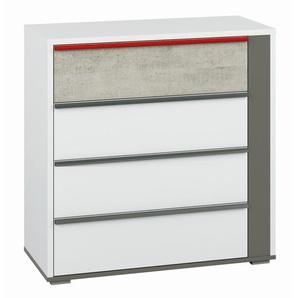 Jugendzimmer - Kommode Connell 08, Farbe: Weiß / Anthrazit / Hellgrau - Abmessungen: 92 x 92 x 40 cm (H x B x T), mit 4 Schubladen