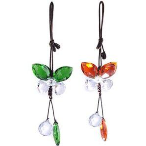H&D Kristall Engel Schmetterling zum Aufhängen Prisma Sonnenanfänger Rückspiegel Charme Decor 2 Stück