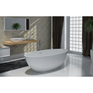 Freistehende Badewanne aus Mineralguss RIO STONE weiß - 180 x 85cm - Wählbar in Matt oder Hochglanz Glänzend - BERNSTEIN