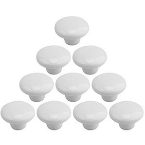 Lommer Möbelknopf Keramik, 10 Stück Rund Dekorative Möbelknöpfe, Möbelgriff Mode Keramik Kinder Porzellan Knopf Schubladengriffe für Schränkchen Kleiderschrank und Andere Möbel (Weiß)