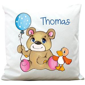 Wandtattoo-Loft Kissen Du bist für immer meine betse Freundin mit zwei süßen Einhörnern - Polyester 40 x 40 cm - Mit Füllung
