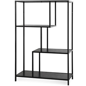 Bücherregal mit 2 Ebenen, 77x35x114cm, schwarz
