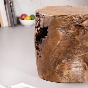 Massiver Hocker MOLAR 35cm Beistelltisch Teak Block aus einem Stück gefertigt