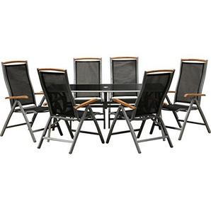 IB-Style® - Gartengarnitur Bologna | 6 Variationen | Alu silbermatt/Textilen schwarz/Teak | 2 Tischgrössen | 7-TLG. 150x90 cm - Klappstühle Gartenmöbel Tisch