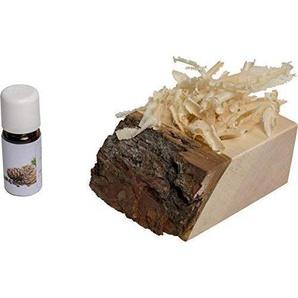 Duft & Deko-Set aus Zirbe: Bio Zirben-Öl (10ml), Zirben-Späne & Zirben-Würfel   Zirbenset verwendbar als Lufterfrischer für Einen angenehmen Raumduft