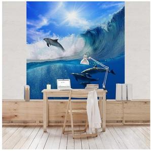 Bilderwelten Kinderzimmer Vliestapete Quadrat »Playing Dolphins«