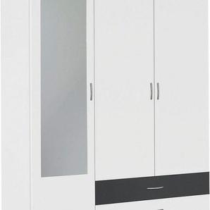 rauch Kleiderschrank »Noosa« mit Spiegel und Schubkästen, weiß, 127 cm x 188 cm x 52 cm