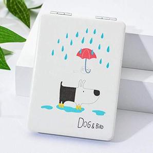 Bmstjk Schminkspiegel, einfach und stilvoll tragbar, doppelt Faltbarer quadratischer Kleiner Spiegel, Regen-Hundemuster