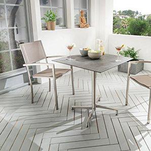 Destiny Balkonset Square Sessel taupe mit Loft Tisch Geflechtsessel Gartensessel Gartentisch HPL Platte