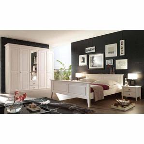 Schlafzimmermöbel Set im skandinavischen Landhausstil Weiß Pinie massiv (4-teilig)