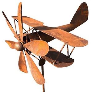 Großes Windspiel Flugzeug in Edelrost - kugelgelagertes Windrad Windmühle - Höhe 167 cm - Rotordurchmesser 36 cm - allwetterfest