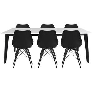 Essgruppe | Esstisch Weiß mit 6 Samt Stühlen Schwarz - Björk & Comfort