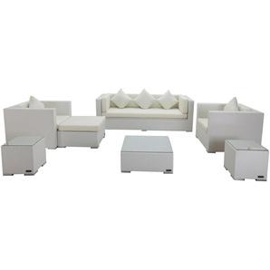 OUTFLEXX Loungemöbel-Set, weiß, Polyrattan, für 6 Personen, inkl. Kaffeetisch, wasserfeste Kissenbox