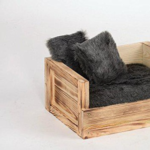 Silvio Design | Tiersofa Skyler mit zwei Kissen | L 34 x B 45 x H 20 cm, Farbe:grau