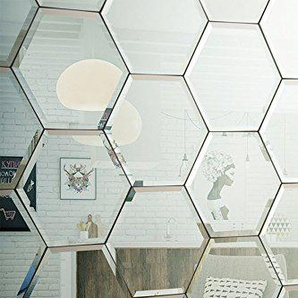 My-Furniture sechseckige Fliese. Fliese aus abgeschraegtem Glas. Ideal Fuer Badezimmer Oder Kueche