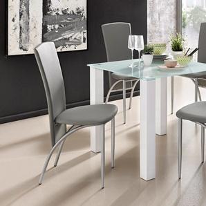 Essgruppe , weiß, Tischbreite 80cm, strapazierfähig, FSC®-zertifiziert, grau