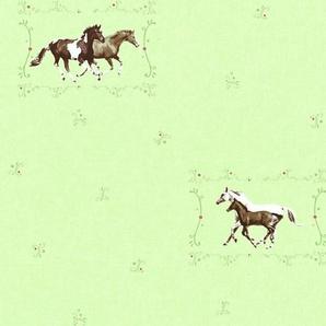 Vliestapete »Little Stars mit Pferden«, glänzend, gemustert, floral, geprägt