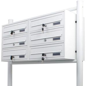 6er Doppel Briefkastenanlage Weiß 6 fach Standbriefkasten Freistehend Postfach - BITUXX