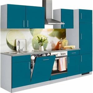 Küchenzeile »Kiel«, mit E-Geräten, Breite 280 cm, blau